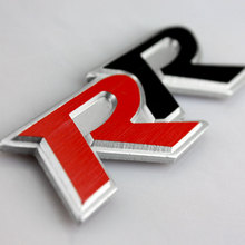 Car Sticker Emblem Badge For Honda Civic RR Letters Tail Brushed Aluminum Red&Black 10.6×2.8cm Tuning Car Styling Accessories