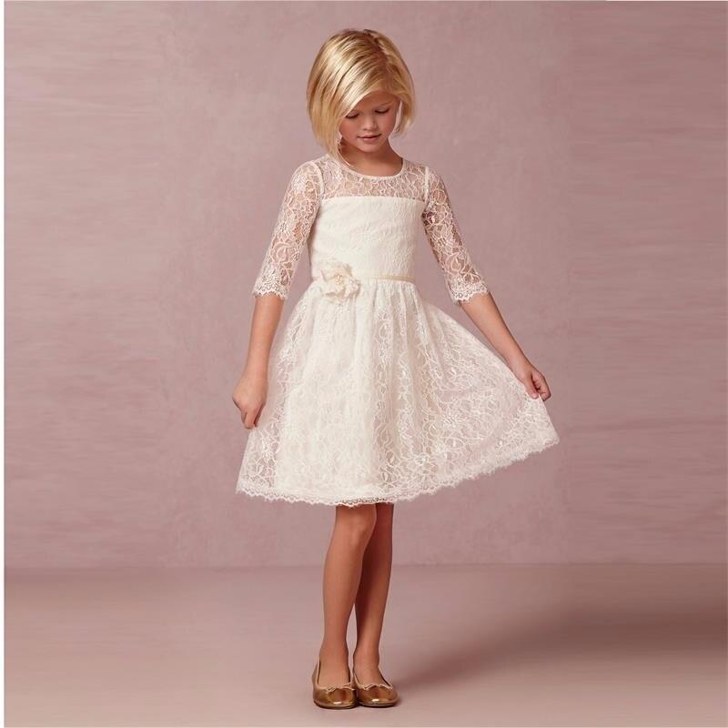 ФОТО Long Sleeves Beach Ivory Lace Flower Girls Dresses With Half Sleeve Knee Length Cheap New Arirval Girls Birthday Dress Communion