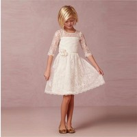 Long Sleeves Beach Ivory Lace Flower Girls Dresses With Half Sleeve Knee Length Cheap New Arirval