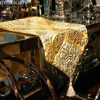 luxury European embroidered gold TV cabinet table bed flag table runner N561
