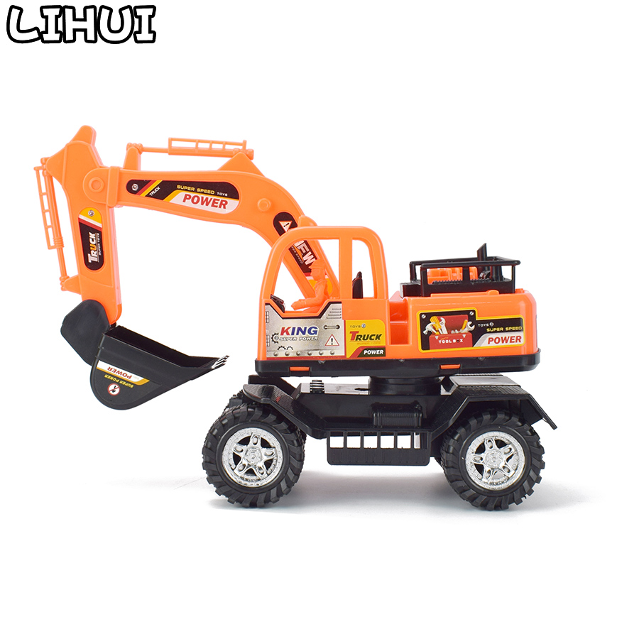 Inertial Excavator Toy Diecast Engineering Vehicle Model Toys For Boys Rotate Pull Back Construction Cars For Kids Children Gift