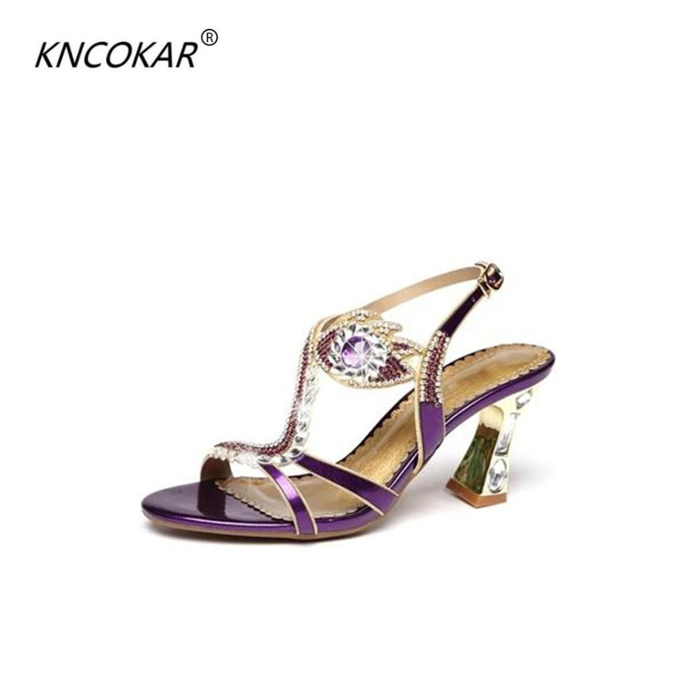 KNCOKAR2018 Summer new female sandals diamond stiletto heel leather sexy wedding peep-toe shoes Bohemian fashion womens shoesKNCOKAR2018 Summer new female sandals diamond stiletto heel leather sexy wedding peep-toe shoes Bohemian fashion womens shoes