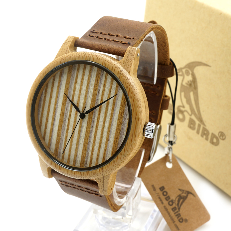BOBO BIRD A19 Mens Womens Bamboo Watch Simple Wood Dial Quartz Wristwatch with Leather Strap in
