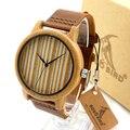 Bobo bird a19 mostrador do relógio das mulheres dos homens de bambu de madeira simples relógio de Pulso de quartzo com Pulseira De Couro na Caixa de Presente Relogio masculino 2016