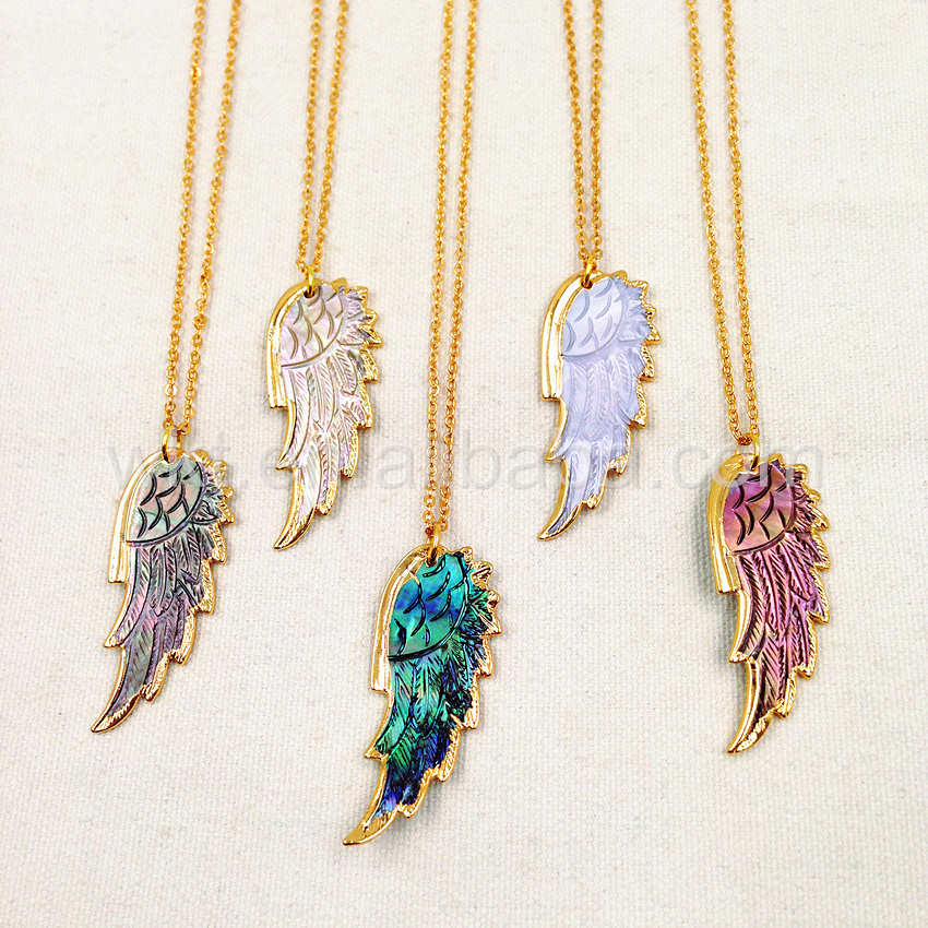 WT N748 Latest Fashion Design Gold Shell Feather Chain Necklace natural shell paua pendant design feather