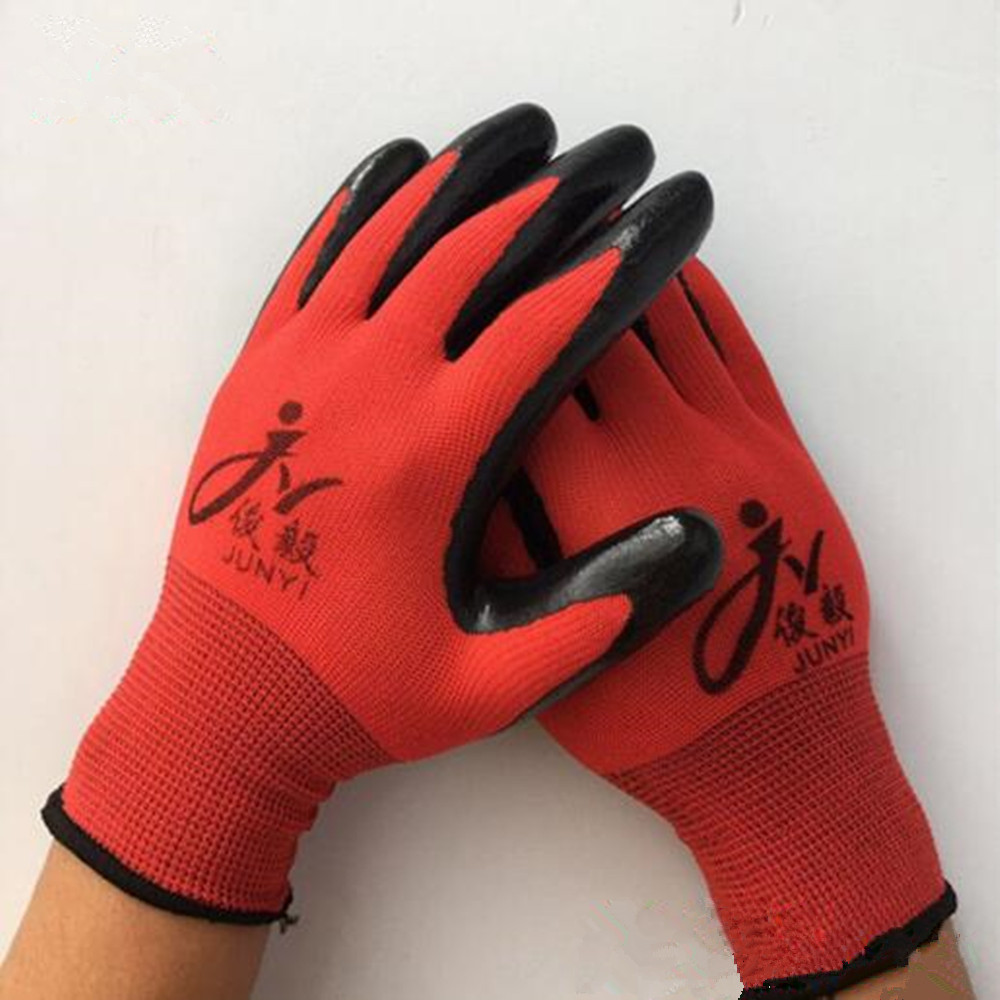 Labor Insurance Gloves Red Yarn Black Wear Non-slip Breathable Comfortable Work Dipped Rubber Hanging Rubber Nitrile Gloves racmmer cycling gloves guantes ciclismo non slip breathable mens