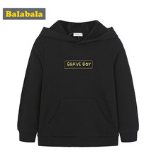 Balabala Toddler Boy Print Hooded Sweatshirt with Kangaroo Pocket Children Kids Soft Cotton Pullover Hoodie Ribbed Cuff and Hem(China)