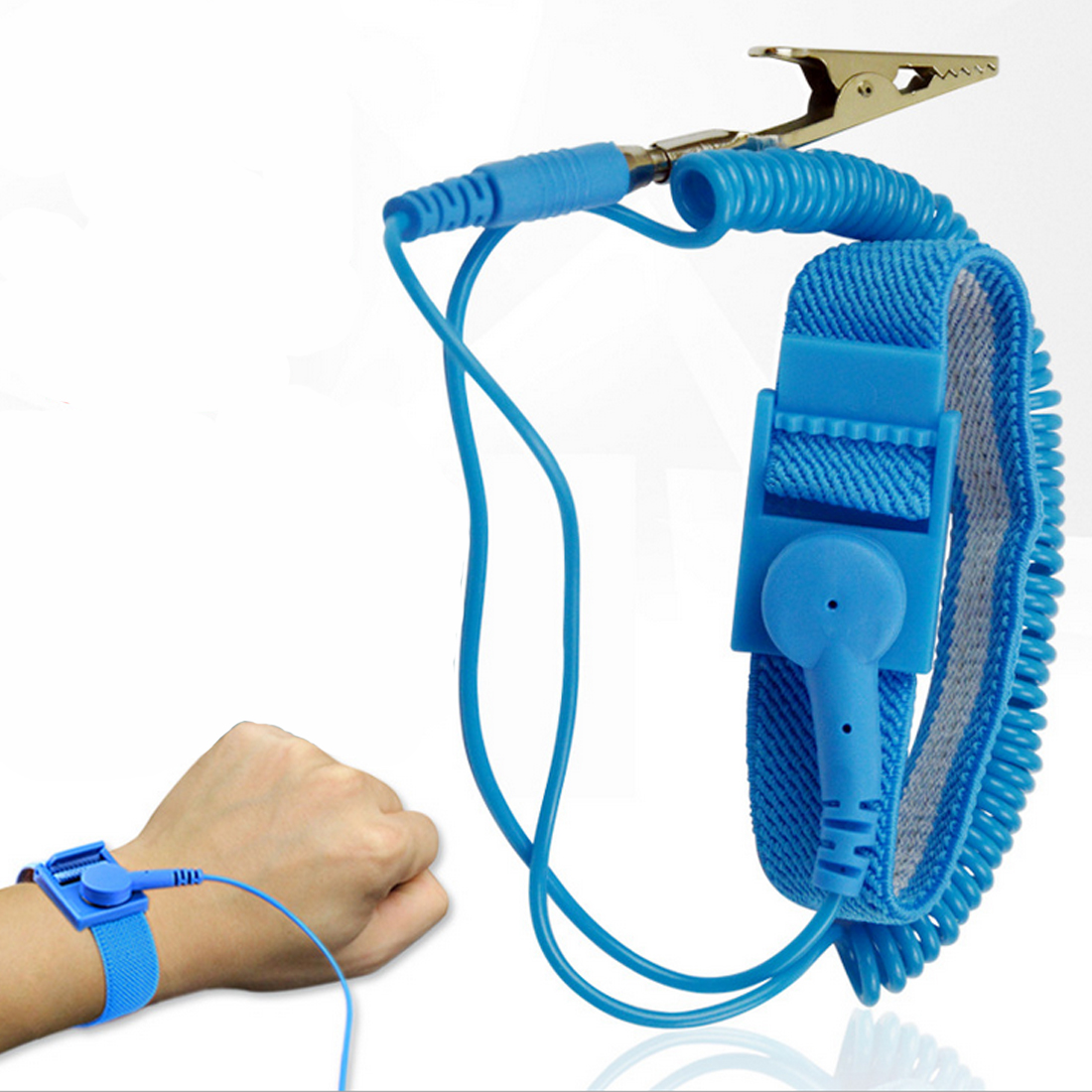 Anti Static Wrist Strap Elastic Band With Clip For Sensitive Electronics Repair Work Tools