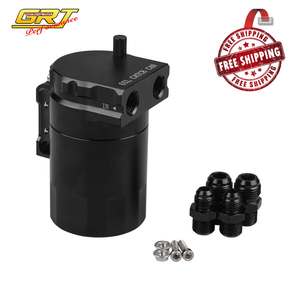 Free Shipping Baffled Aluminum Oil Catch Can Reservoir Tank Oil Tank Universal With 2pcs An6 And An8 Adapters Occ024-z-bk+occ027