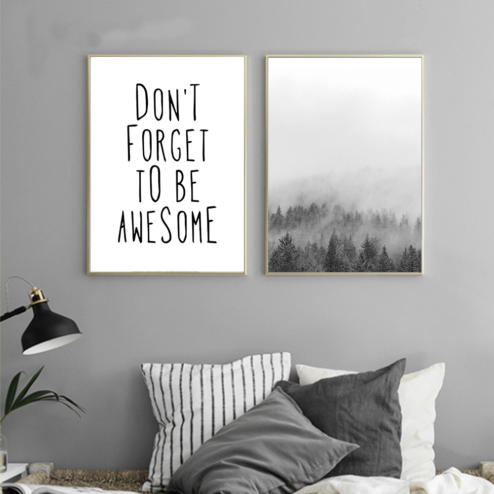 Landscape nordic style forest motivational quote canvas for Minimalist wall painting