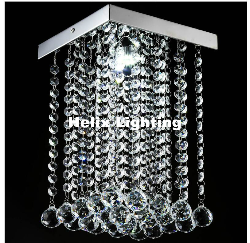 Free shipping Square Shaped 5W Crystal Porch Light Balcony LED Ceiling Lamp Crystal Light Dining Room Corridor Ceiling lighting