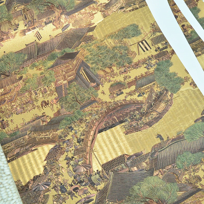 beibehang New gold foil reflective wallpaper Chinese classical wallpaper living room hotel partition porch background wallpaper