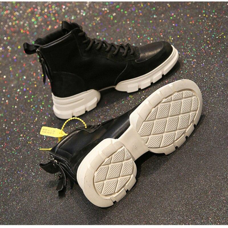 Véritable Jearro De Mode Cuir Moto Taille 36 Chaussures Zapatos Beige noir Mujer Femme Casual Dames Femmes En Bottes 40 qXqxzrwH5