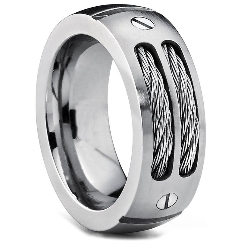 2017 nye giftering i rustfritt stål menns rustfrie stålring unike kabler og skruedesign for herrer størrelse 6 # -15 #