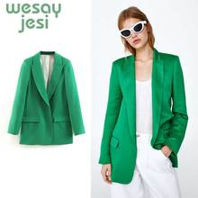 2019 Hot Sale green Women Blazer Jackets New Spring Autumn Casual Office Suits Slim Solid Female Jacket