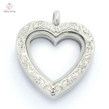 Fashion Vintage Engraved Magnetic Glass Floating Locket,316L Stainless Steel Glass Memory Antique Heart Lockets Pendants P357