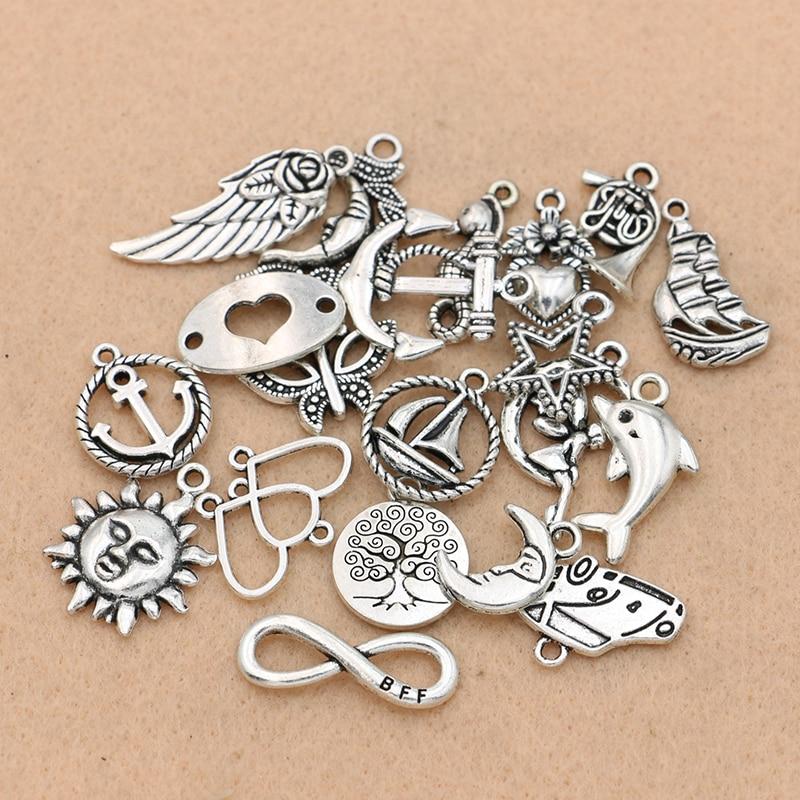 60 PCS Antik Silber Legierung Schmuck Anhänger Charms Anhänger für