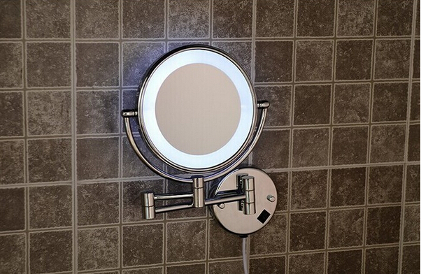 Hot Bathroom Bronze Wall Mounted 8 inch Brass 3X/1X Magnifying Mirror LED Light Folding Makeup Mirror Cosmetic Mirror Lady Gift fashionable design hot sale bathroom makeup mirror multiple colors wall mounted
