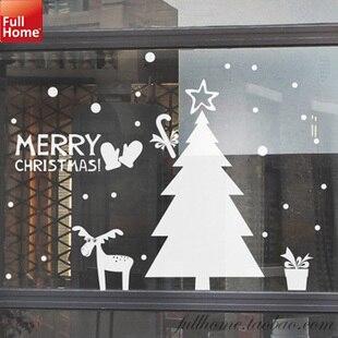 Christmas Vinyl Wall Decal Clothes Coffee Shop Beauty Salon Christmas Decor Wall Sticker Christmas Tree Glass Window Decoration