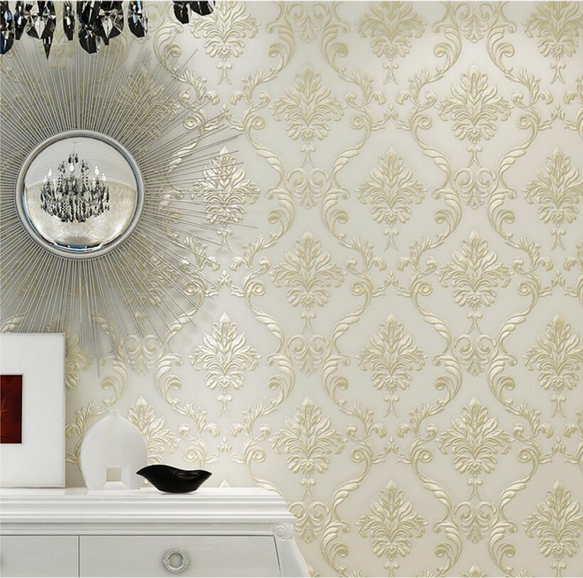 beibehang European-style 3D relief Damascus non-woven wallpaper bedroom shop restaurant living room TV background wall paper цена