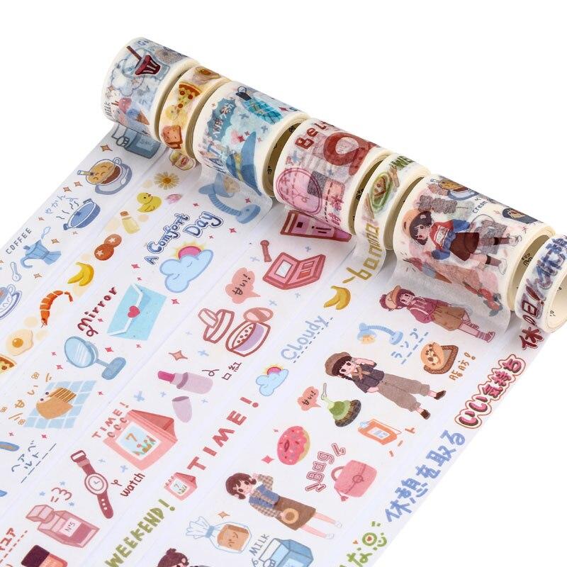 Fun Banana Matcha Theme Washi Tape Adhesive Tape Diy Scrapbooking Sticker Label Masking Tape