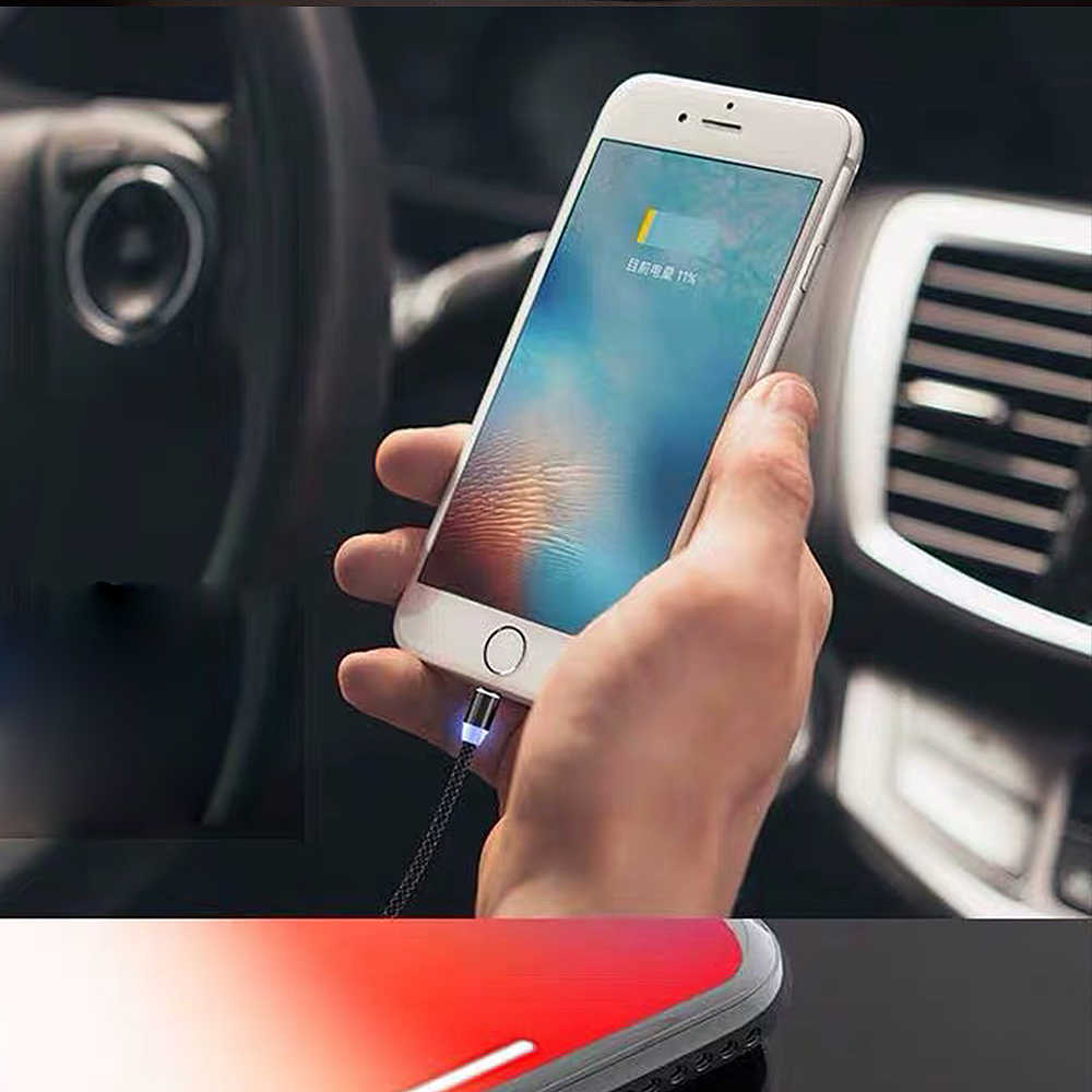 1M Từ Cáp Sạc, cáp Micro USB cho IPhone XR XS Max X Nam Châm Sạc USB Loại C LED Sạc Dây Dây
