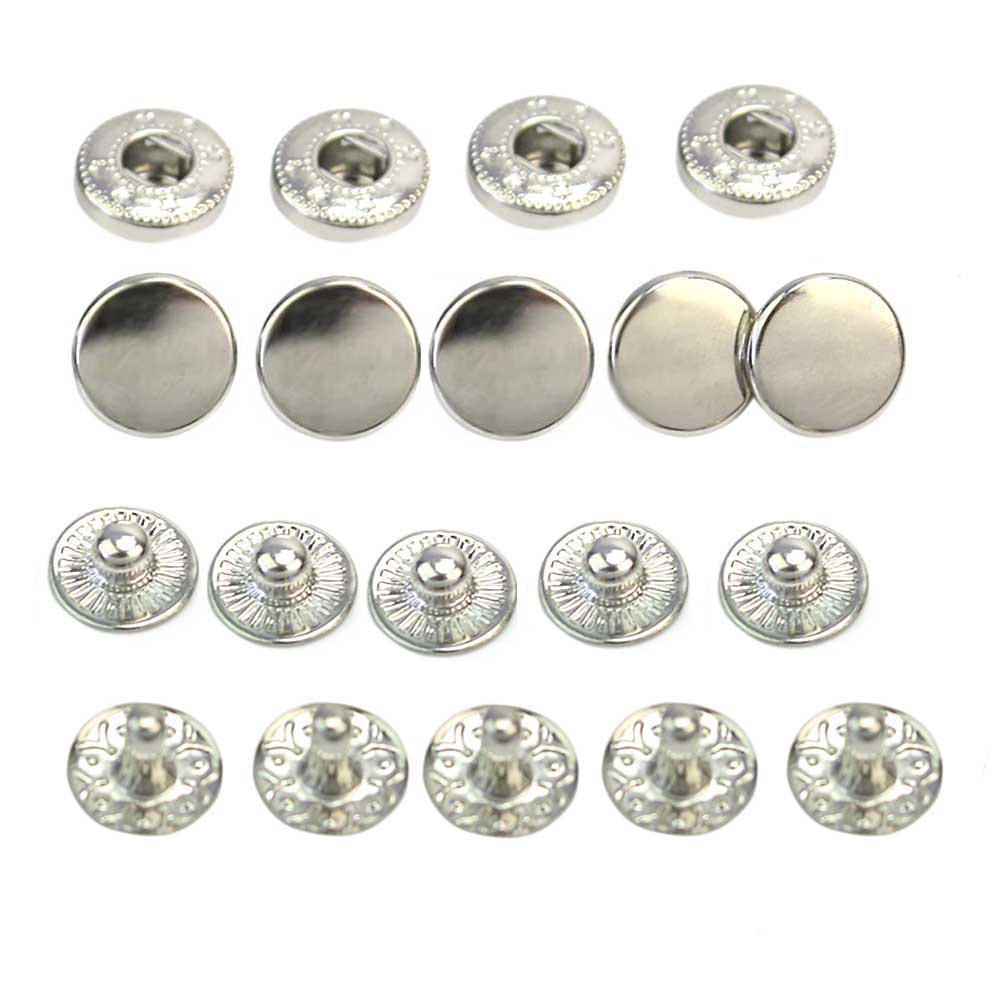 50pcs/Set <font><b>10mm</b></font> Silver Tone Metal No Sewing Snap Press Studs <font><b>Buttons</b></font> for Leathercraft Clothes Bags Fasteners Poppers Accessories image