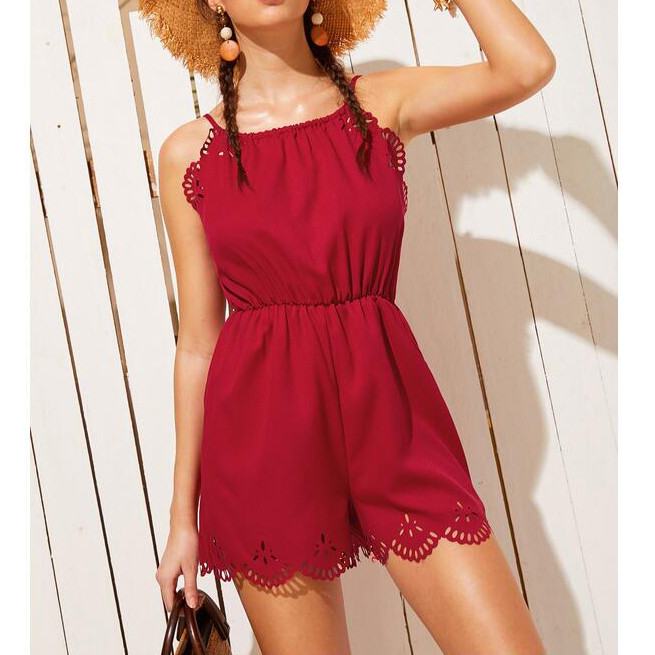 Independent Short Red Playsuits Off Shouder Solid Sleeveless Lace Women Bodysuits Casual Summer Sexy Jumpsuits Body Dentelle Femme W422 A Great Variety Of Models Women's Clothing