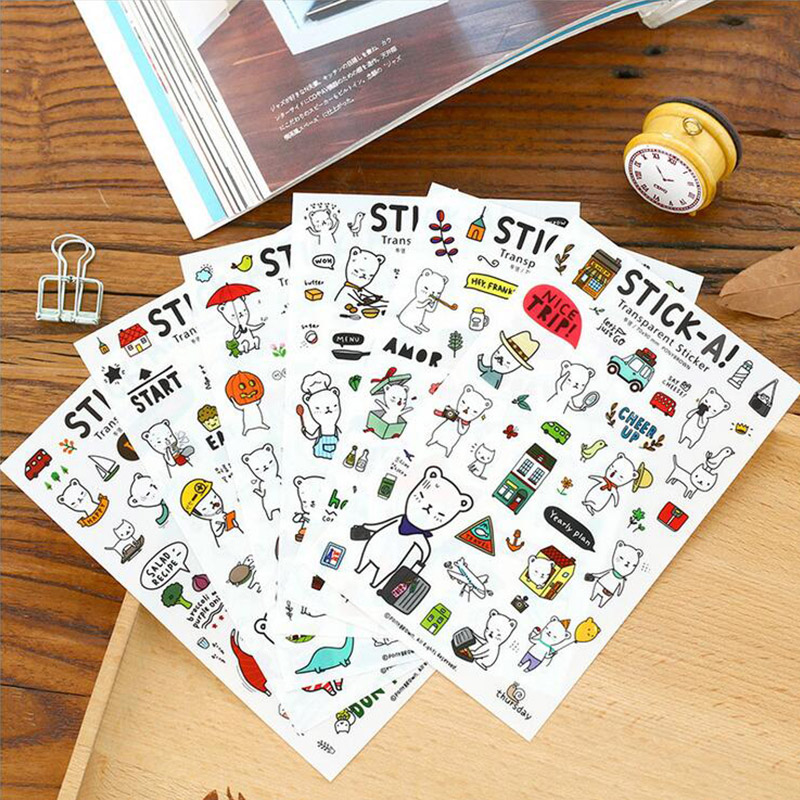 6 sheets/lot cartoon Steve Bear paper sticker DIY scrapbooking diary album sticker post stationery school supplies elephant lion bear animals transparent clear stamps silicone seals stencils for scrapbooking folder cards diy photo album sheets