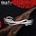 Beier 925 plata esterlina pulsera de moda romántica fina ampliado pluma pulsera brazalete pulsera de hombre y mujeres pulsera br925sz004