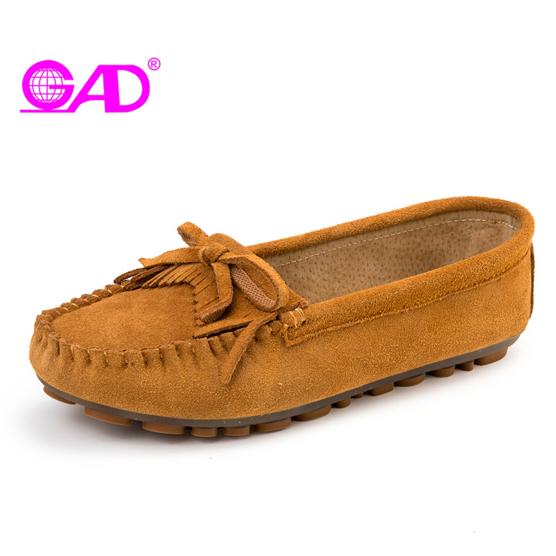 GAD Women Moccasin Loafers 2017 Spring/autumn New Arrival Round Toe Slip-on Women Casual Shoes Fashion Fringe Flat Shoes Women spring and autumn new 2015 women shoes serpentine surface women flat slip on higher fashion bost shoes comfortable loafers