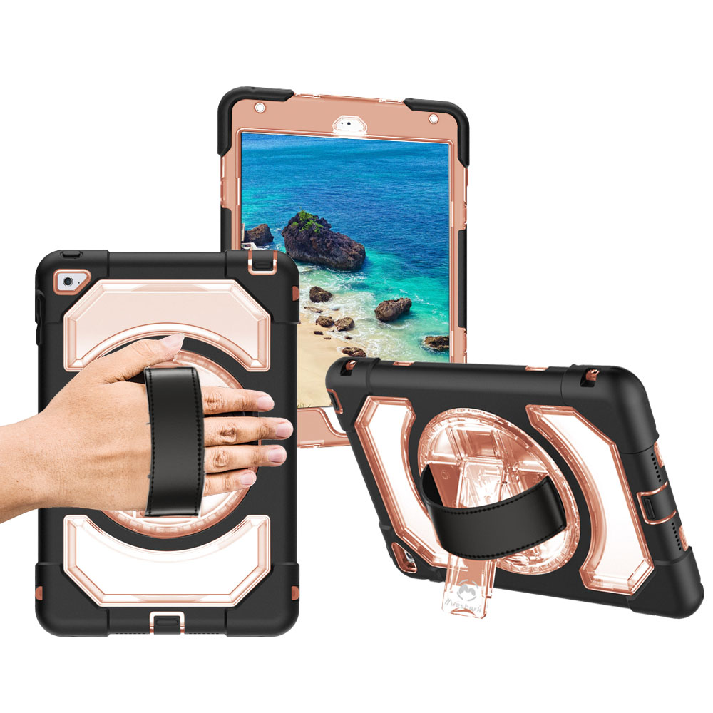 Miesherk for iPad Mini 4 High Impact Resistant Case Waterproof 360 Rotating Hand Strap and Hidden Kickstand Protector for iPad