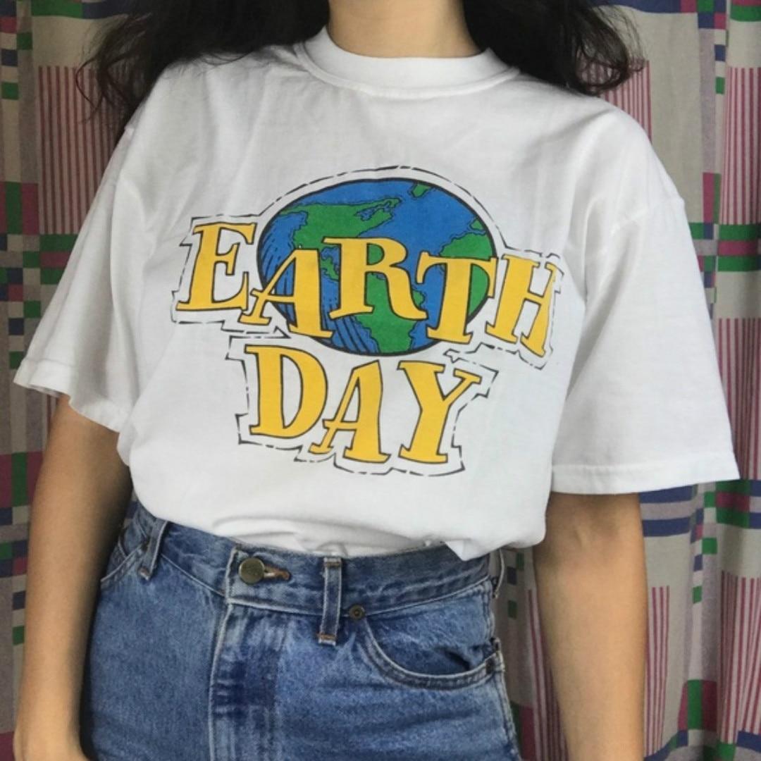 Dia da terra 90s estética feminino menina t camisa tumblr moda estilo rua plus size verão algodão bonito topos & t hipster dropship