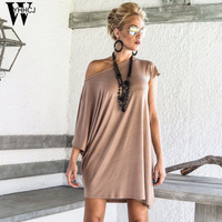 WYHHCJ 2017 New Casual O Neck Summer Dress Short Sleeve Loose Anomaly Women Dresses Solid Plus