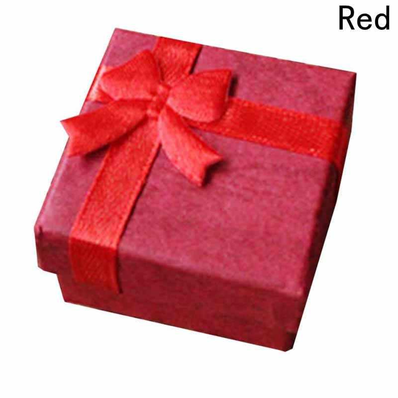 "1 pc 4*4 ס""מ באיכות גבוהה Jewery ארגונית תיבת טבעות אחסון תיבת קטן אריזת מתנה עבור טבעות עגילי 4 צבעים!!! שנה החדשה חג המולד"