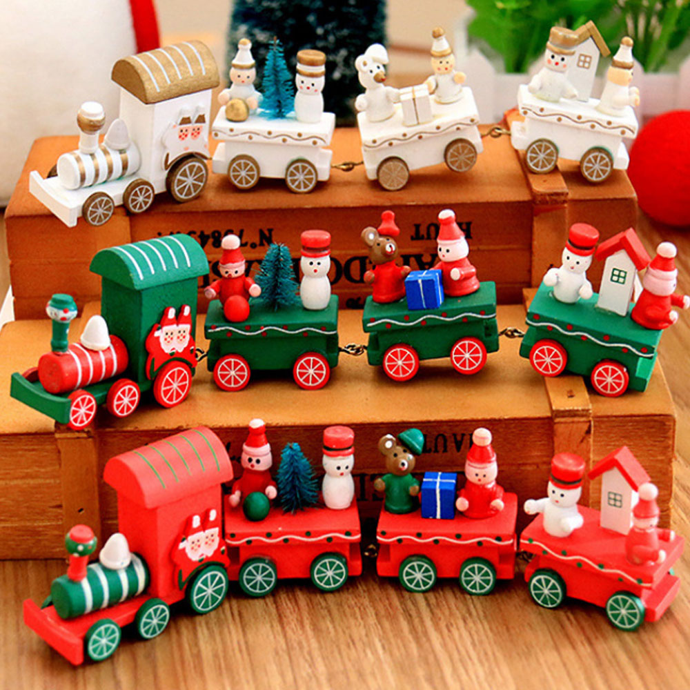 Popular Home Decor Gift Ideas For Christmas: Christmas Decoration Wooden Train Craft Santa Claus Xmas