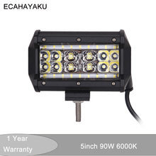 ECAHAYAKU 1pcs 5 inch 90W 4 Rows LED combo Beam Work Light Bar 12V 24V Off Road Truck ATV 4x4 SUV Boating 4X4 Driving fog lamp стоимость