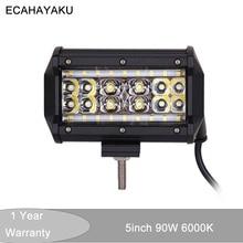 цена на ECAHAYAKU 1pcs 5 inch 90W 4 Rows combo Beam led Work Light Bar 12V 24V OffRoad for Truck ATV 4x4 SUV Boating Driving fog lamp