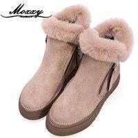 Moxxy Warm Snow Boots Winter Boots Women Ankle Boots Zip Women Platform Shoes Plush Sneakers Flat Ladies Fur Casual Shoes Woman