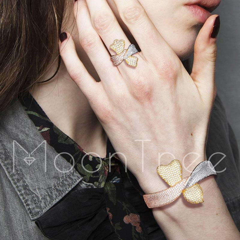 In Stil; Moontree Luxus Spezielle Design Luxus Super Aaa Zirkonia Frauen Engagement Armreif Und Ring Schmuck-set Modischer