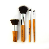 Top Quality 4PCS Set Natural Bamboo Handle Makeup Brushes Powder Liquid Foundation Eyeshadow Brushes Professional Make