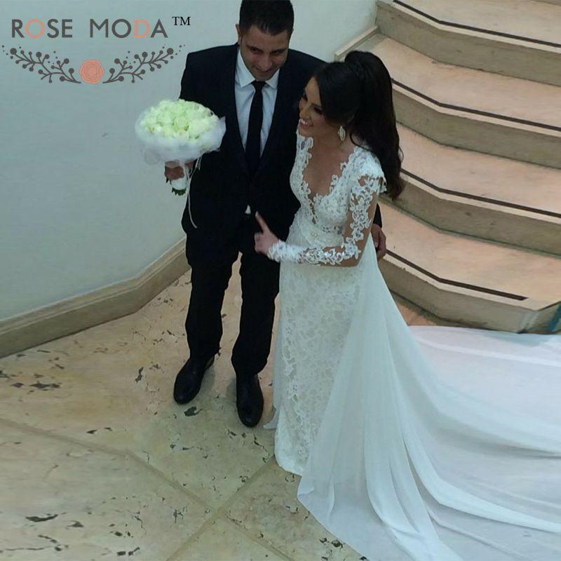 Rose Moda Long Sleeves Lace Sheath Wedding Dress 2019 with Removable Train Lace Boho Bridal Dresses