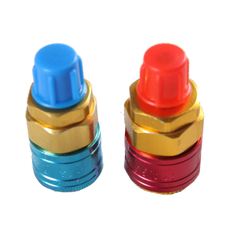 1 Pair Freon R134A H/L Auto Car Quick Coupler Connector Brass Adapters Air Conditioning Refrigerant Adjustable AC Manifold Gauge a c system adjustable air conditioner quick couplers connector burgundy for car