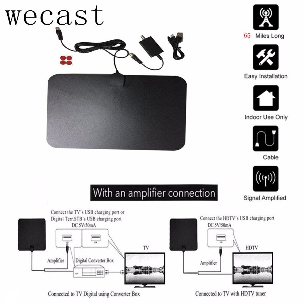 65 Miles Innen Digitale Tv-antenne Meilen Mit Signal Verstärkt Indoor HD Digital Freies TV Fuchs TVScout ATSC DVB-T DVB-T2 empfänger