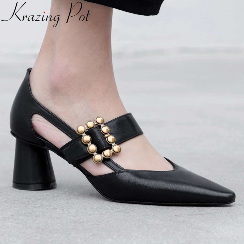 Krazing Pot office lady mixed colors genuine leather hollow pumps square toe thick high heels buckle