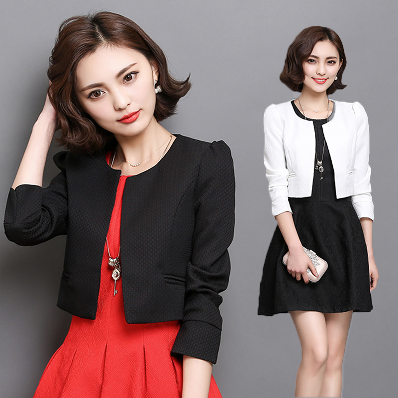 2019 Autumn Women Short Coat Long Sleeve   Basic     Jackets   For Women Casual Work Wear O-neck Slim Outwear White Black Red Coat