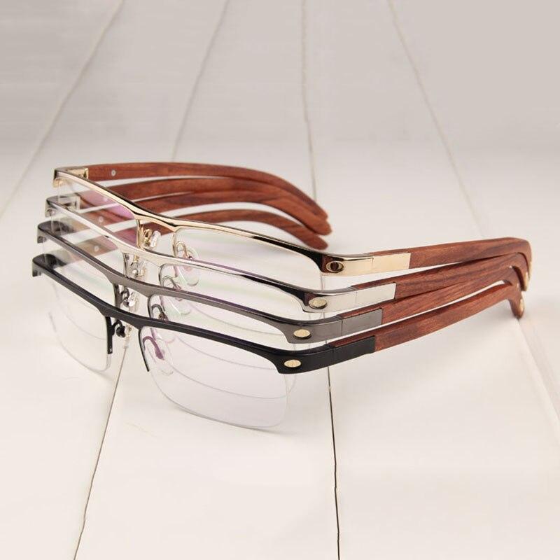 Vazrobe printemps charnière en bois lunettes hommes femmes Semi sans monture lunettes cadres homme or bois jambe Prescription lunettes marque