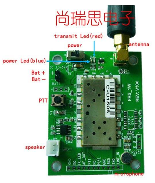 FRS_DEMO_A (1W UHF) wireless walkie talkie transceiver module/wireless  module/Radio module(1w, 5km)demo board evaluation board
