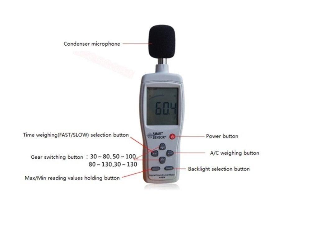 AS824 plus grand écran d'affichage à cristaux liquides de poche compteur de niveau sonore numérique compteur de décibels de bruit 30 ~ 130 dB compteur de bruit - 4