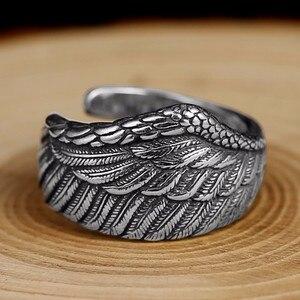 Image 3 - ZABRA Vintage 925 Silver Men Ring Adjustable Eagle Wing Feather Retro Black Punk Biker Man Rings Female Sterling Silver Jewelry